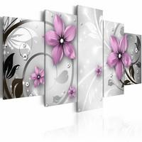 Schilderij - Saucy flowers, Zart-Wit/Paars, 2 Maten, 5luik