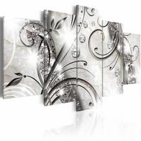 Schilderij - Diamanten voor altijd, 5 luik, Grijs/Wit, 2 maten, Premium print