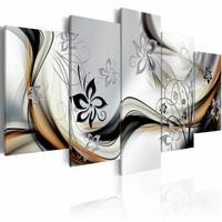Schilderij - Dans van het licht, 5 luik, Grijs/Bruin/Zwart, 2 maten, Premium print