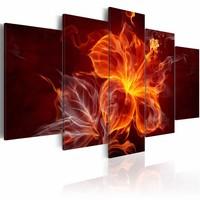 Schilderij - Bloem in vlammen, Rood, 5luik
