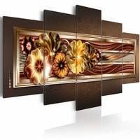Schilderij - In gouden golven, Bruin/Goud, 5luik