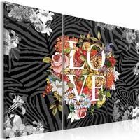 Schilderij - Bloemen vanuit het hart, love, Multi-gekleurd, 3luik