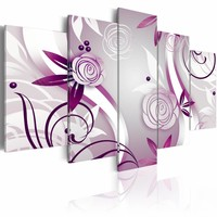 Schilderij - Paarse rozen, 5 luik, Wit/Paars, 2 maten, Premium print