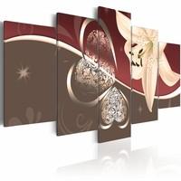 Schilderij - Lelie Abstract, 5 luik, Bruin/Rood/Wit, 2 maten, Premium print