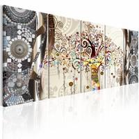 Schilderij - Boom van Mozaïek , beige grijs , 5 luik