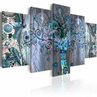Schilderij - Verdraaide Boom , blauw paars , 5 luik