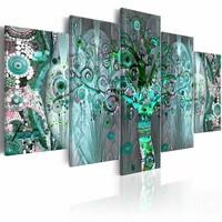 Schilderij - Mozaïekboom , blauw , 5 luik