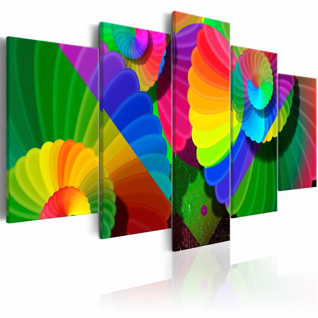 Schilderij - Verdraaide Kleuren , multi kleur , 5 luik , 2 maten