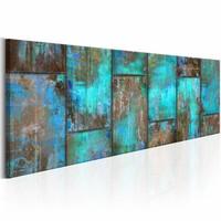 Schilderij -Metalen mozaïek op canvas - Blauw bruin ,  150X50cm , 1 luik