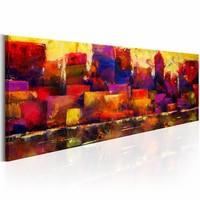 Schilderij - Kleurrijke Skyline  , multi kleur , 150X50cm , 1 luik
