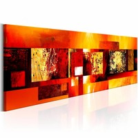 Schilderij - Gouden Spreuk , oranje