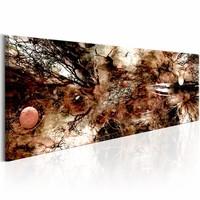 Schilderij - Bruine artistieke Chaos 150X50cm