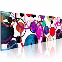 Schilderij - Kleurrijke Cirkels  , multi kleur , 150X50cm , 1 luik