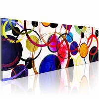 Schilderij - Regenboog Cirkels , multi kleur ,  150X50cm , 1 luik