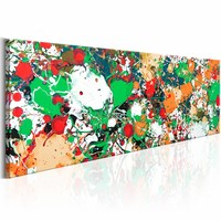 Schilderij - Kleurrijke Bravado  , groen oranje , 150X50cm , 1 luik