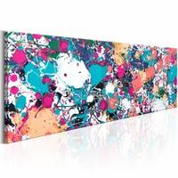 Schilderij - Ongebruikelijke expressie  , pastel multi kleur , 150X50cm , 1 luik