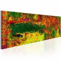 Schilderij - Groene Mysterie  , oranje  , 150X50cm , 1 luik