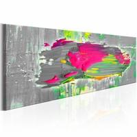 Schilderij - Grijze Gedachten , roze , 150X50 , 1 luik
