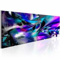 Schilderij - Kobalt storm  , blauw paars , 150X50cm , 1 luik