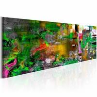 Schilderij -  De artiesten tuin  , multi kleur , 150X50cm , 1 luik