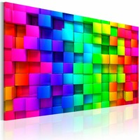 Schilderij - Gevlochten kleuren, Multi-gekleurd