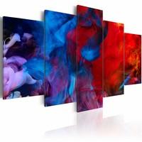 Schilderij - Dans van de gekleurde vlammen , rood blauw , 5 luik
