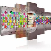 Schilderij - abstract (stippen) , multi kleur , 5 luik