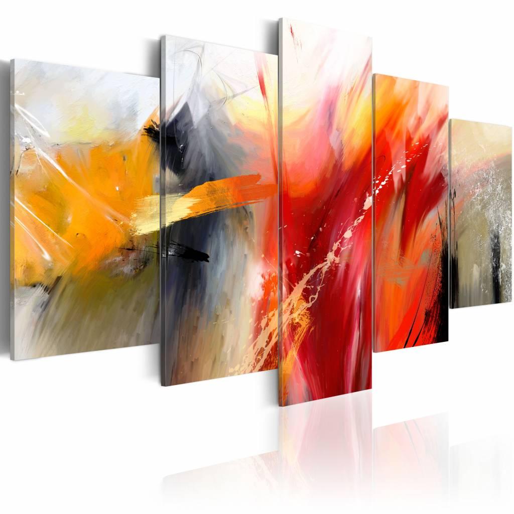 Schilderij - Slagveld van kleuren , multi kleur , 5 luik