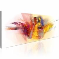 Schilderij - Draken vuur  , 120x40cm , multi kleur