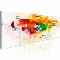 Schilderij - het vieren van kleuren ,  120x40cm , papegaai , 1 luik