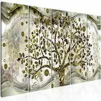 Schilderij - Zwaaiende boom - Groen , beige , 5 luik , 2 maten