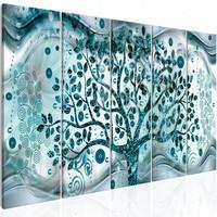 Schilderij - Zwaaiende boom - Blauw , grijs , 5 luik