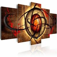Schilderij - Boze oog  , oranje bruin , 5 luik
