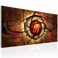 Schilderij - Boze oog  , oranje bruin , 3 luik  , 120X60cm