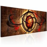 Schilderij - Duivels oog , oranje bruin , 1 luik