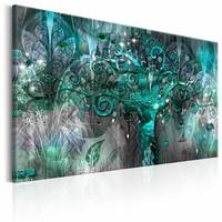 Canvas Schilderij - Toekomstboom , groen blauw , 1 luik , 2 maten