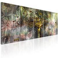 Schilderij - Sprookjes Boom ,   multi kleur , 5 luik