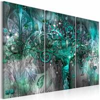 Canvas Schilderij - Groene Boom  , grijs ,  3 luik ,  2 maten