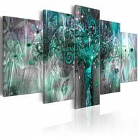Schilderij -  Groene Boom ,  grijs ,  5 luik