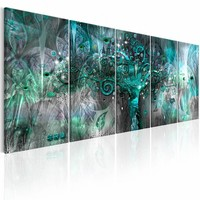 Canvas Schilderij -  Groene Boom  , 5 luik II ,  groen blauw ,  2 maten