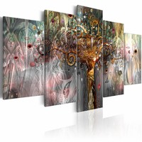 Schilderij - Gouden Boom , multi kleur , 5 luik ,  2 maten