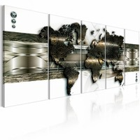 Schilderij - Nieuwe technologie (wereldkaart) , bruin metaal look , 5 luik , 2 maten