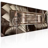 Schilderij - Mechanische trap , bruin , beige , 5 luik