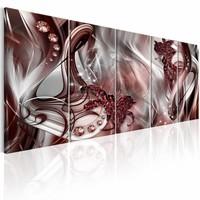 Canvas Schilderij - Abstractie met rook , roze goud look , 5 luik , 2 delen