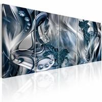 Schilderij - Blauwe gloed , zilver look blauw , 5 luik