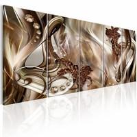 Schilderij - Elegantie in vijf delen , goud look , 5 delen , 2 maten