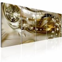 Schilderij - Kristal in vijf delen , beige goud look , 5 luik