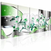 Schilderij - groen in vijf delen , wit  zilver look , 5 delen