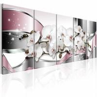 Schilderij - Orchidee in vijf delen , wit roze , 5 luik
