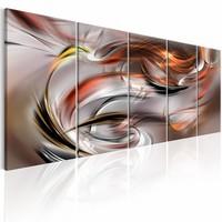 Schilderij - Oranje Chaos , oranje grijs , 5 luik , 2 maten
